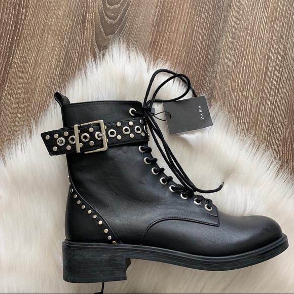 53e93cf1fe56e6 Zara Shoes | Nwt Black Studded Combat Boots | Poshmark